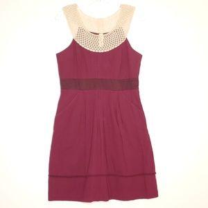 Anthropologie Floreat Burgundy Pocket Dress 6